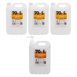 Pack de 3 Garrafas+ 1 Con Dosificador Degel Hidroalcohólico 70% 5 Litros