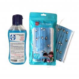 Pack 50 Mascarillas Desechable Para Niños de 4 A 12 Años 3 Capas Color Azul + Gel Hidroalcohólico 70% 100Ml